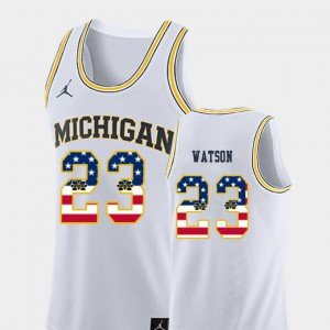 #23 Ibi Watson Michigan Wolverines For Men USA Flag College Basketball Jersey - White