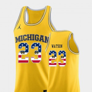 #23 Ibi Watson Michigan Wolverines USA Flag Men's College Basketball Jersey - Yellow