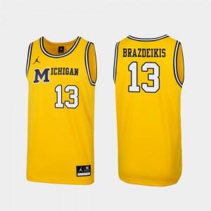 #13 Ignas Brazdeikis Michigan Wolverines Men Replica 1989 Throwback College Basketball Jersey - Maize