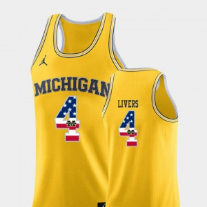 #4 Isaiah Livers Michigan Wolverines College Basketball USA Flag Mens Jersey - Yellow