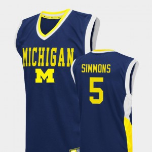 #5 Jaaron Simmons Michigan Wolverines Mens College Basketball Fadeaway Jersey - Blue