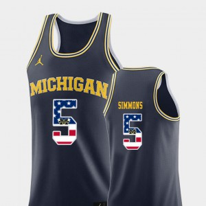 #5 Jaaron Simmons Michigan Wolverines College Basketball USA Flag Men Jersey - Navy