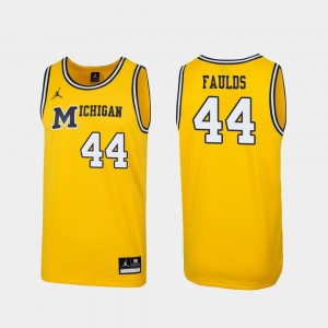 #44 Jaron Faulds Michigan Wolverines 1989 Throwback College Basketball Replica Men's Jersey - Maize