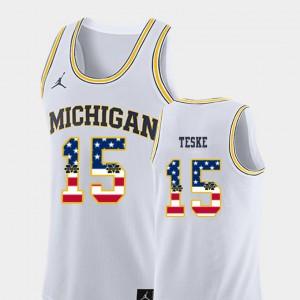#15 Jon Teske Michigan Wolverines USA Flag Men College Basketball Jersey - White