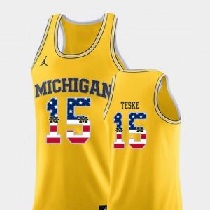 #15 Jon Teske Michigan Wolverines Men College Basketball USA Flag Jersey - Yellow