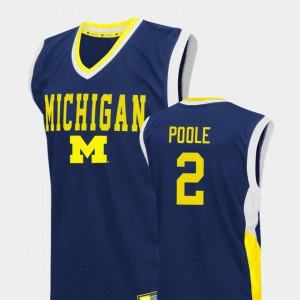 #2 Jordan Poole Michigan Wolverines Fadeaway College Basketball Men Jersey - Blue