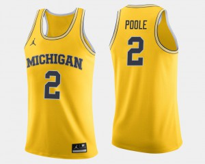 #2 Jordan Poole Michigan Wolverines College Basketball Men Jersey - Maize