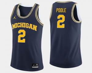 #2 Jordan Poole Michigan Wolverines College Basketball For Men's Jersey - Navy