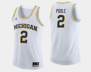 #2 Jordan Poole Michigan Wolverines College Basketball For Men Jersey - White