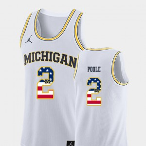 #2 Jordan Poole Michigan Wolverines Men's USA Flag College Basketball Jersey - White
