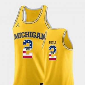 #2 Jordan Poole Michigan Wolverines USA Flag College Basketball Men Jersey - Yellow