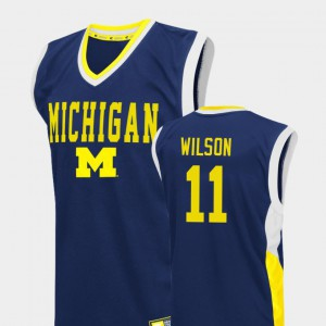#11 Luke Wilson Michigan Wolverines Fadeaway College Basketball Men's Jersey - Blue