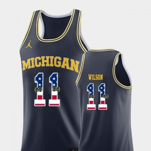 #11 Luke Wilson Michigan Wolverines USA Flag For Men's College Basketball Jersey - Navy