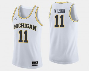 #11 Luke Wilson Michigan Wolverines College Basketball For Men's Jersey - White
