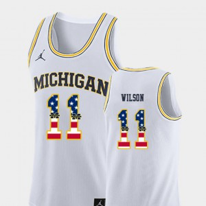 #11 Luke Wilson Michigan Wolverines USA Flag Men College Basketball Jersey - White