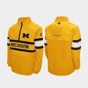 Michigan Wolverines Alpha Windshell Pullover Quarter-Zip For Men Jacket - Maize