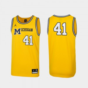 #41 Michigan Wolverines Men Replica 1989 Throwback College Basketball Jersey - Maize