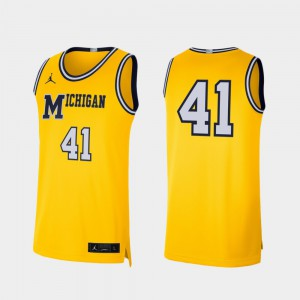#41 Michigan Wolverines Retro Limited College Basketball Men Jersey - Maize