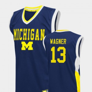 #13 Moritz Wagner Michigan Wolverines For Men's Fadeaway College Basketball Jersey - Blue