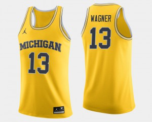 #13 Moritz Wagner Michigan Wolverines Men's College Basketball Jersey - Maize