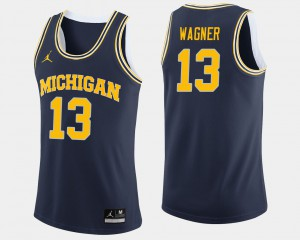#13 Moritz Wagner Michigan Wolverines College Basketball For Men's Jersey - Navy
