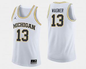 #13 Moritz Wagner Michigan Wolverines College Basketball Men Jersey - White