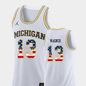 #13 Moritz Wagner Michigan Wolverines Men's College Basketball USA Flag Jersey - White