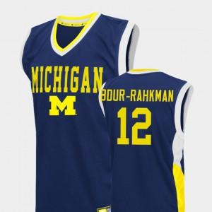 #12 Muhammad-Ali Abdur-Rahkman Michigan Wolverines Fadeaway College Basketball Mens Jersey - Blue