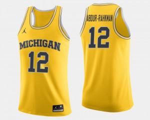 #12 Muhammad-Ali Abdur-Rahkman Michigan Wolverines College Basketball Men's Jersey - Maize
