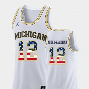 #12 Muhammad-Ali Abdur-Rahkman Michigan Wolverines USA Flag College Basketball For Men Jersey - White