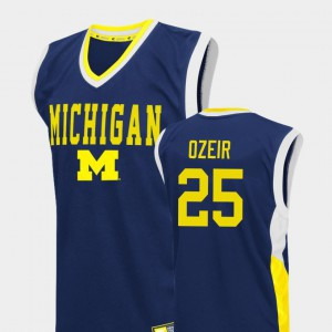 #25 Naji Ozeir Michigan Wolverines Fadeaway For Men College Basketball Jersey - Blue