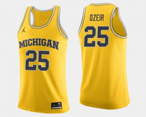 #25 Naji Ozeir Michigan Wolverines College Basketball For Men's Jersey - Maize