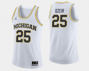 #25 Naji Ozeir Michigan Wolverines For Men's College Basketball Jersey - White