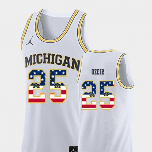 #25 Naji Ozeir Michigan Wolverines USA Flag College Basketball Men Jersey - White