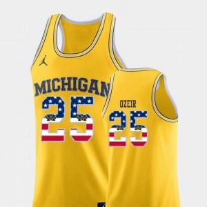 #25 Naji Ozeir Michigan Wolverines College Basketball USA Flag Men Jersey - Yellow