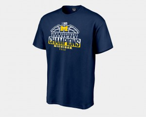 Michigan Wolverines 2018 Big Ten Champions Locker Room Basketball Conference Tournament Men's T-Shirt - Navy
