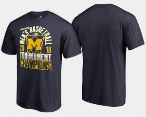 Michigan Wolverines Basketball Conference Tournament Men's 2018 Big Ten Champions T-Shirt - Navy