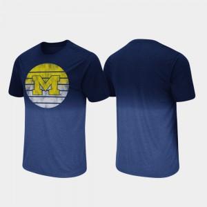 Michigan Wolverines For Men Dip Dye Fancy Walking T-Shirt - Navy