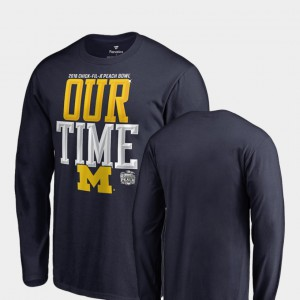Michigan Wolverines For Men Counter Long Sleeve 2018 Peach Bowl Bound T-Shirt - Navy
