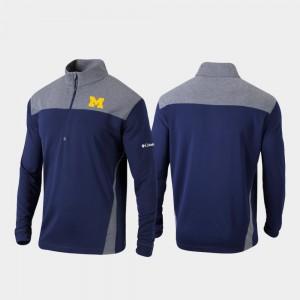Michigan Wolverines Omni-Wick Standard Men's Quarter-Zip Pullover Jacket - Navy