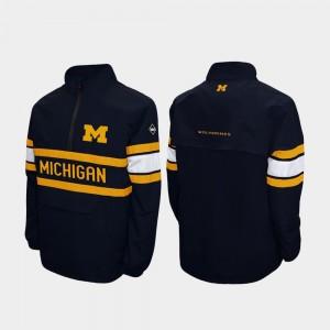 Michigan Wolverines Alpha Windshell Pullover Quarter-Zip Mens Jacket - Navy