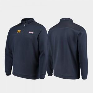Michigan Wolverines For Men's Shep Shirt Quarter-Zip Jacket - Navy