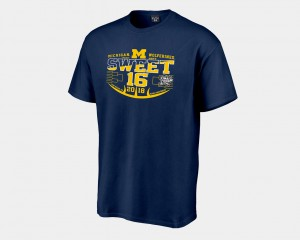 Michigan Wolverines Men Sweet 16 Bound 2018 March Madness Basketball Tournament T-Shirt - Navy