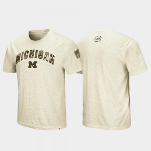 Michigan Wolverines For Men's Desert Camo OHT Military Appreciation T-Shirt - Oatmeal