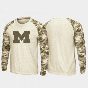 Michigan Wolverines OHT Military Appreciation Raglan Long Sleeve Desert Camo For Men's T-Shirt - Oatmeal