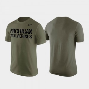 Michigan Wolverines For Men's Stencil Wordmark T-Shirt - Olive