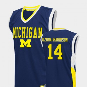 #14 Rico Ozuna-Harrison Michigan Wolverines Men College Basketball Fadeaway Jersey - Blue