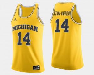 #14 Rico Ozuna-Harrison Michigan Wolverines For Men College Basketball Jersey - Maize