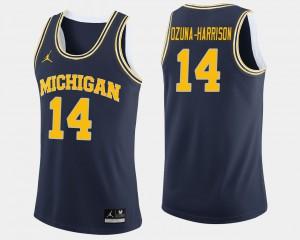 #14 Rico Ozuna-Harrison Michigan Wolverines College Basketball Men's Jersey - Navy