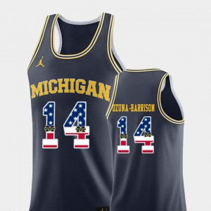 #14 Rico Ozuna-Harrison Michigan Wolverines USA Flag For Men's College Basketball Jersey - Navy